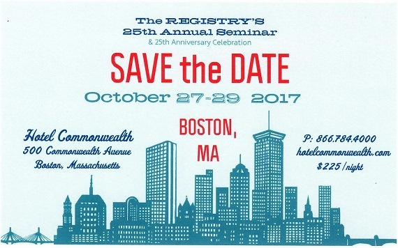 2017 Annual Seminar Boston, October 27-29