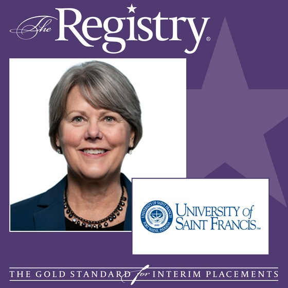 The Registry is pleased to announce the appointment of Amy Amason as Interim Vice President for Advancement at the University of Saint Francis - Fort Wayne, IN