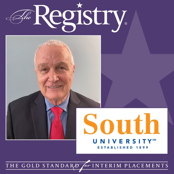 Congratulations to Registry Member Kenneth Zirkle for being selected to serve as Interim President of South University, Columbia.