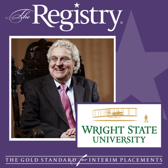 Compliments to Registry Member Oliver Evans on his recent placement as Interim Provost at Wright State University.