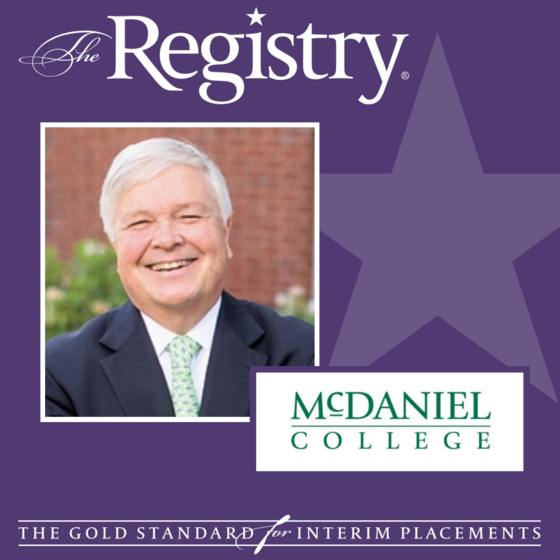 Best wishes to Registry Member William Torrey on his recent placement as Interim Vice President for Development at McDaniel College.