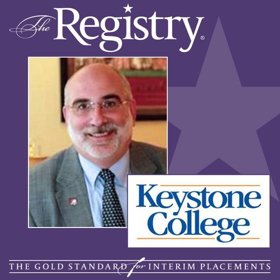 Best wishes to Registry Member David Arnold on his placement as Interim Provost at Keystone College.