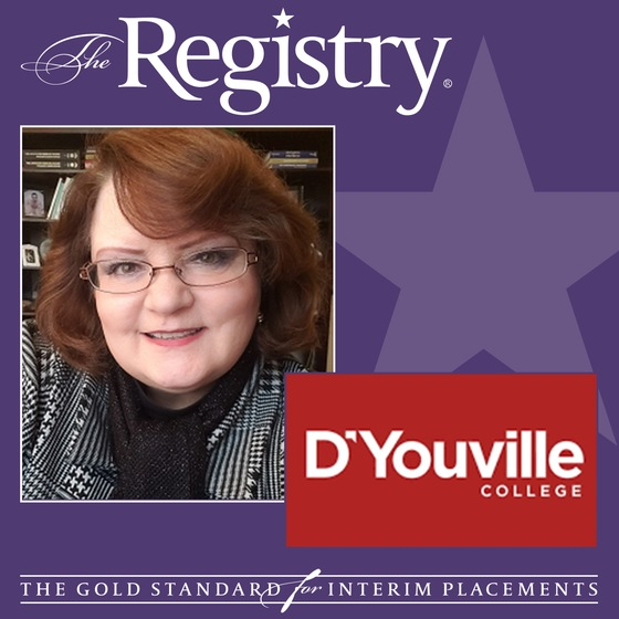 Best wishes to Registry Member Deborah Garrison on her placement as Interim Dean for the School of Nursing at D'Youville College.