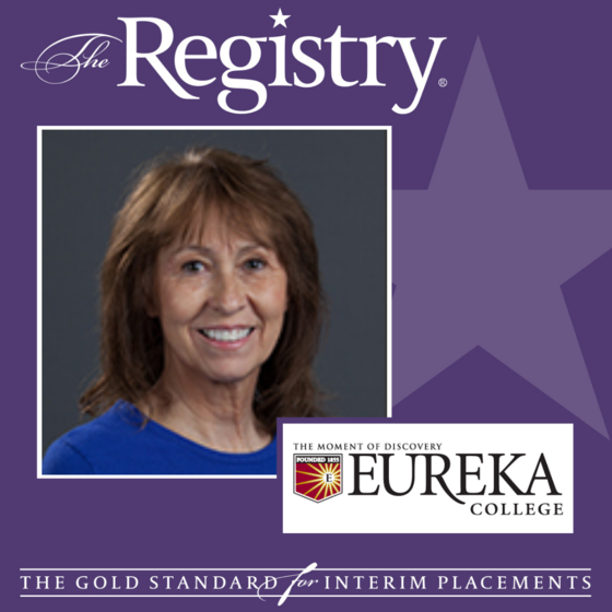 Congratulations to Registry Member Cindy Sisson on her placement as Interim Dean of Enrollment Management at Eureka College.