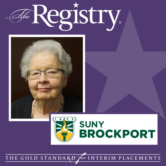 Congratulations to Registry Member Linda Delene on her placement at SUNY Brockport as Interim Provost.