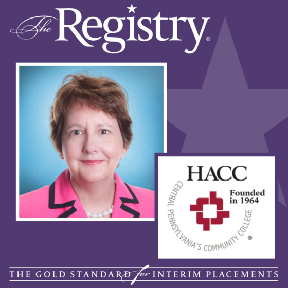 Congratulations to Registry Member Luegina Mounfield on her placement as Interim Provost and VP of Academic Affairs at HACC, Central Pennsylvania's Community College.