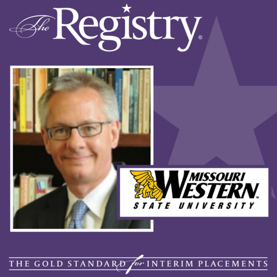 Congratulations to Registry Member Marc Manganaro on his placement as Interim Provost at Missouri Western State University.