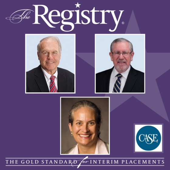 Registry President Bryan Carlson, Vice President Kevin Matthews and Member Patricia Jackson were featured this month in an article in Council for Advancement and Support of Education about the importance and strategies of Interim Leadership.