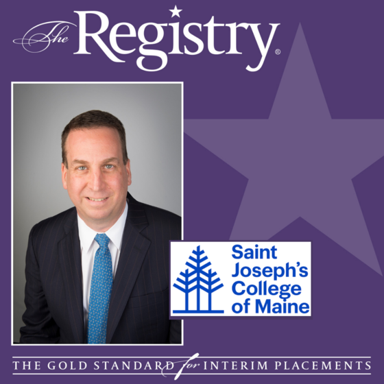 Congratulations to Registry Member Russ Mayer for his placement as Interim Chief Learning Officer at Saint Joseph's College of Maine.