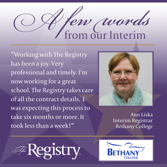 We are grateful to hear Registry Member Ann Liska's experience while working with us to find the perfect interim role for her skill set.