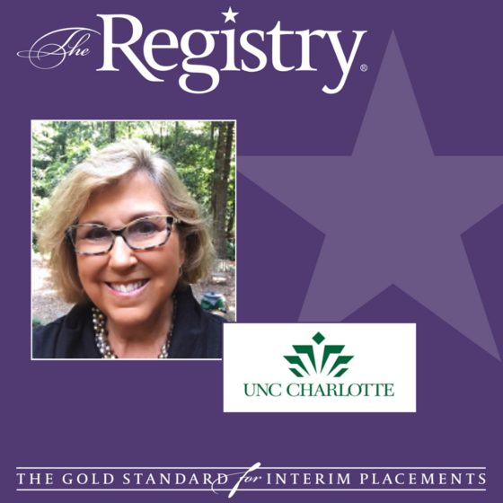 Congratulations to Registry Member Meg Kimmel for her placement as Interim Senior Director for Academic Communications, University Communications at UNC Charlotte.